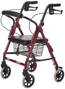 Lumex Walkabout Lite Compact Rollator, Great for Shorter Users and Kids, Burgundy, RJ4301R