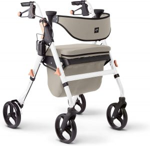 Medline Premium Empower Rollator Walker with Seat, Comfort Handles and Thick Backrest, Folding Walker for Seniors, Microban Antimicrobial Protection, 8 Wheels, White Frame