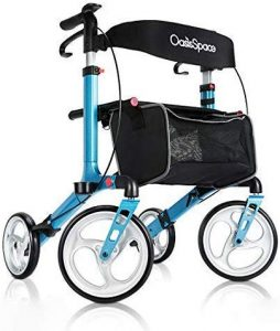 OasisSpace Aluminum Rollator Walker, with 10'' Wheels and Seat Compact Folding Design Lightweight Baking Complimentary Carry Bag (Blue)